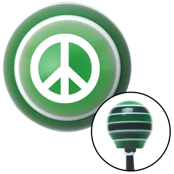 White Peace Sign Green Stripe Shift Knob with M16 x 15 Insert - American Shifter - Dropship Direct Wholesale