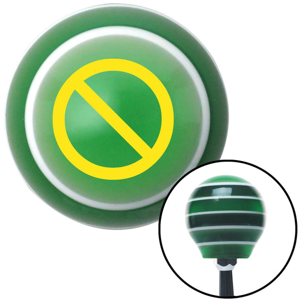 Yellow NO Symbol Green Stripe Shift Knob with M16 x 15 Insert - American Shifter - Dropship Direct Wholesale