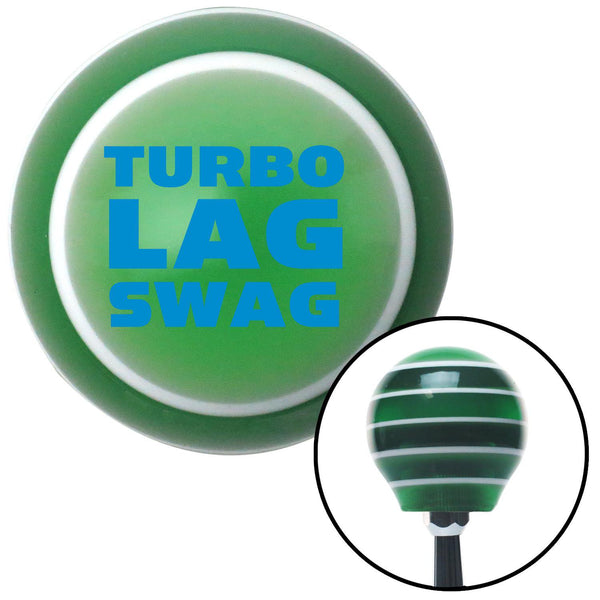 Blue Turbo Lag Swag Green Stripe Shift Knob with M16 x 15 Insert - American Shifter - Dropship Direct Wholesale