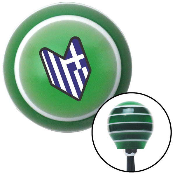 Greek Wakaba Leaf Green Stripe Shift Knob with M16 x 15 Insert - American Shifter - Dropship Direct Wholesale