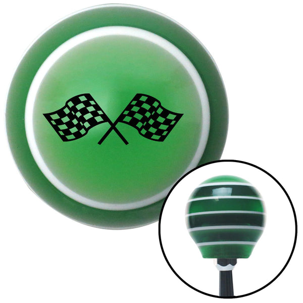 Black Dual Racing Flags Green Stripe Shift Knob with M16 x 15 Insert - American Shifter - Dropship Direct Wholesale