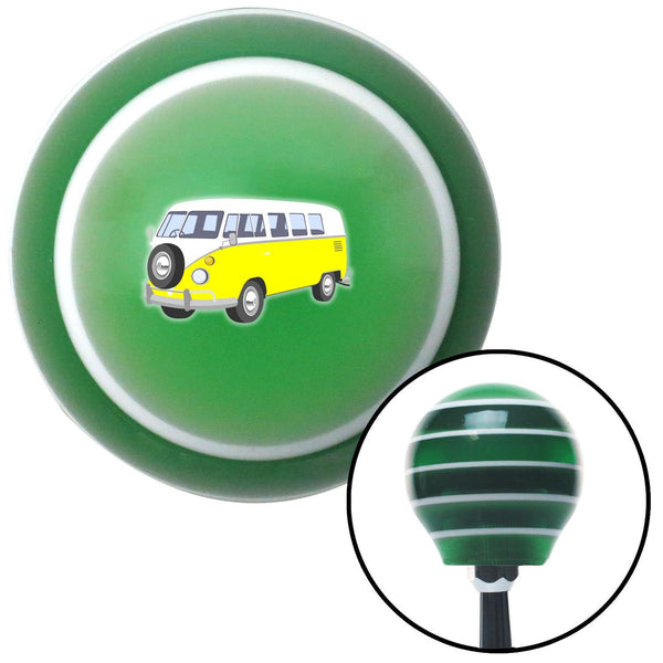 Yellow Camper Green Stripe Shift Knob with M16 x 15 Insert - American Shifter - Dropship Direct Wholesale