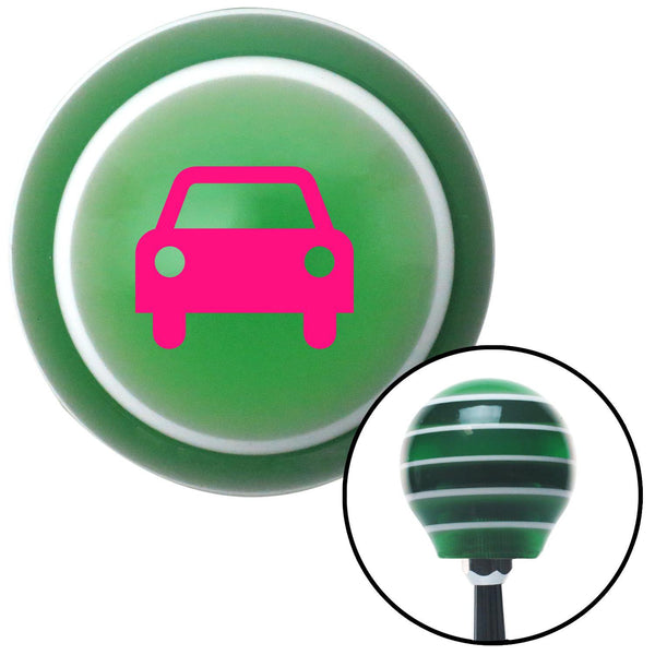 Pink Car Green Stripe Shift Knob with M16 x 15 Insert - American Shifter - Dropship Direct Wholesale