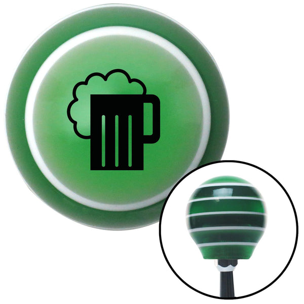 Black Foaming Mug Green Stripe Shift Knob with M16 x 15 Insert - American Shifter - Dropship Direct Wholesale