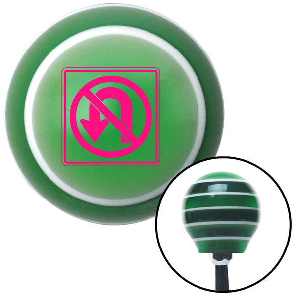 Pink No UTurn Green Stripe Shift Knob with M16 x 15 Insert - American Shifter - Dropship Direct Wholesale