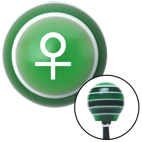 White Female Green Stripe Shift Knob with M16 x 15 Insert - American Shifter - Dropship Direct Wholesale