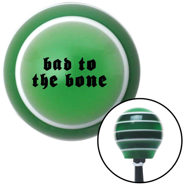 Black bad to the bone Green Stripe Shift Knob with M16 x 15 Insert - American Shifter - Dropship Direct Wholesale