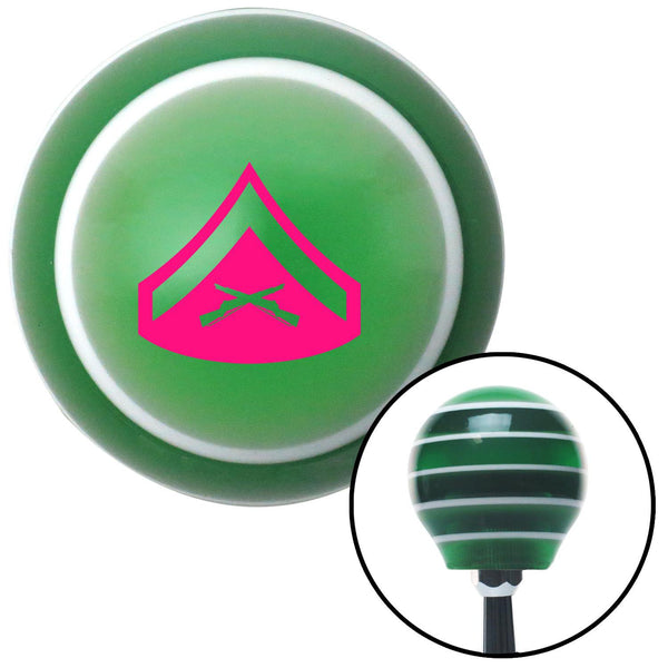 Pink 02 Lance Corporal Green Stripe Shift Knob with M16 x 15 Insert - American Shifter - Dropship Direct Wholesale
