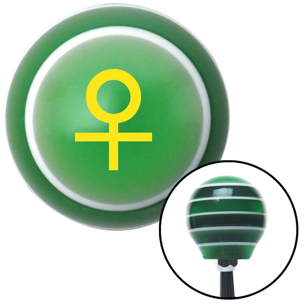Yellow Female Green Stripe Shift Knob with M16 x 15 Insert - American Shifter - Dropship Direct Wholesale