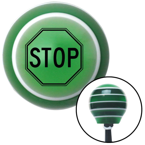 Black Stop Sign Green Stripe Shift Knob with M16 x 15 Insert - American Shifter - Dropship Direct Wholesale