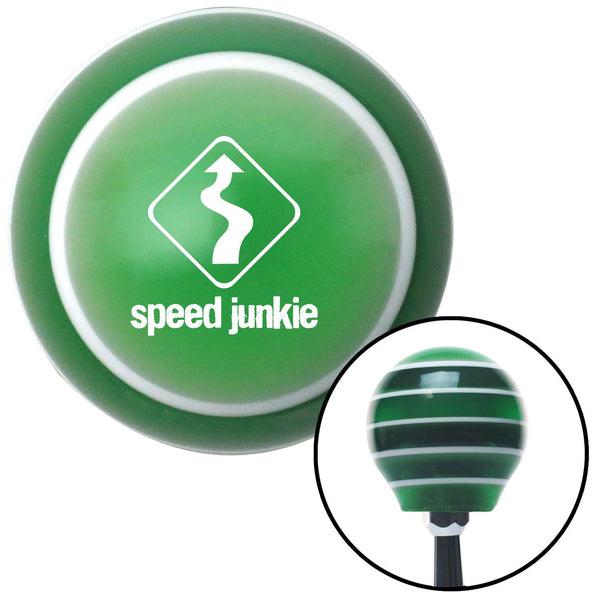 White Speed Junkie Green Stripe Shift Knob with M16 x 15 Insert - American Shifter - Dropship Direct Wholesale