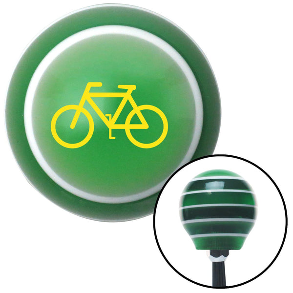 Yellow Bicycle Green Stripe Shift Knob with M16 x 15 Insert - American Shifter - Dropship Direct Wholesale