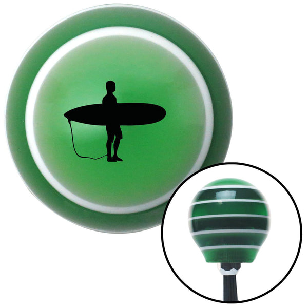 Black Surfer Green Stripe Shift Knob with M16 x 15 Insert - American Shifter - Dropship Direct Wholesale