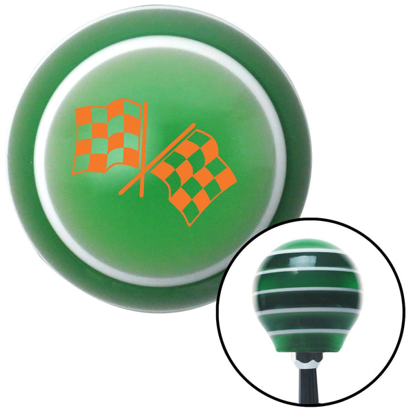 Orange Dual Checkered Flags Green Stripe Shift Knob with M16 x 15 Insert - American Shifter - Dropship Direct Wholesale