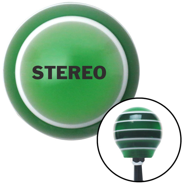 Black STEREO Green Stripe Shift Knob with M16 x 15 Insert - American Shifter - Dropship Direct Wholesale