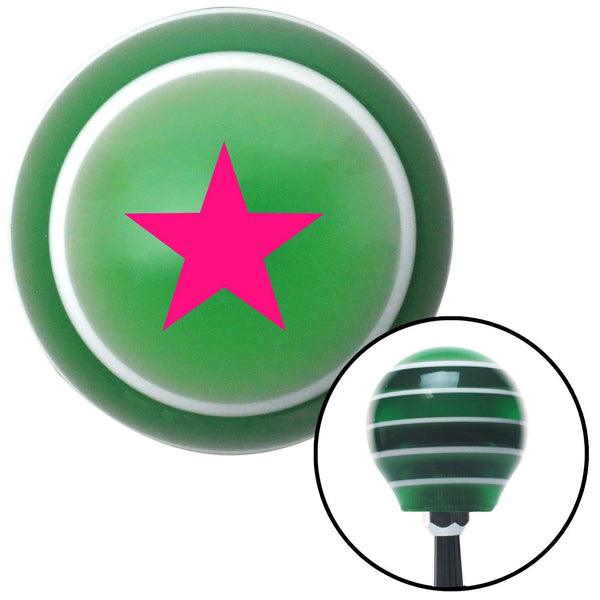 Pink Rear Admiral Lower Half Green Stripe Shift Knob with M16 x 15 Insert - American Shifter - Dropship Direct Wholesale