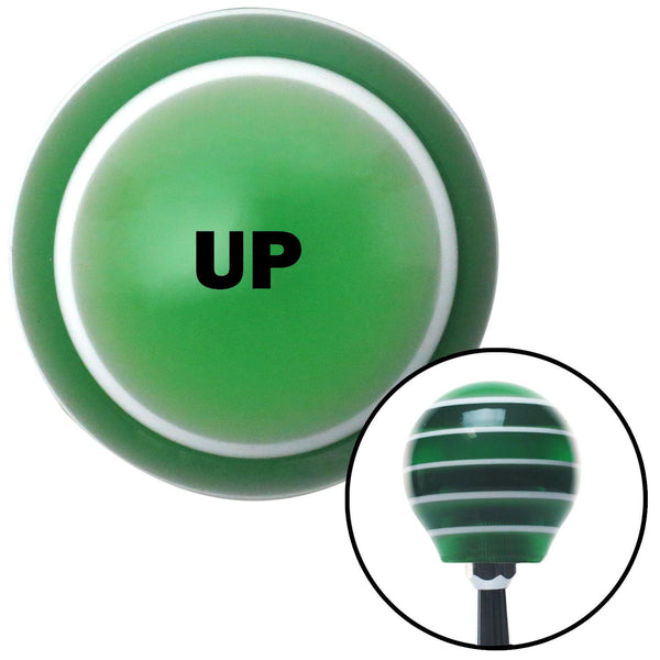 Black UP Green Stripe Shift Knob with M16 x 15 Insert - American Shifter - Dropship Direct Wholesale