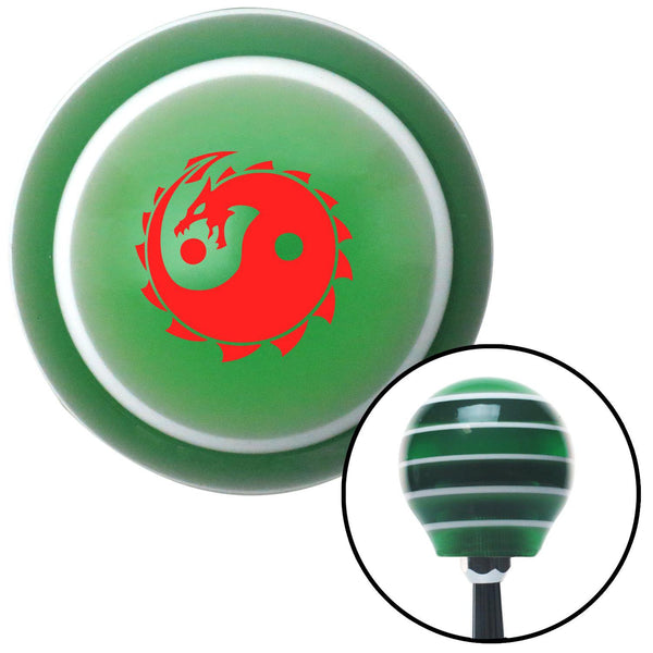 Red Yin Yang Dragon Green Stripe Shift Knob with M16 x 15 Insert - American Shifter - Dropship Direct Wholesale