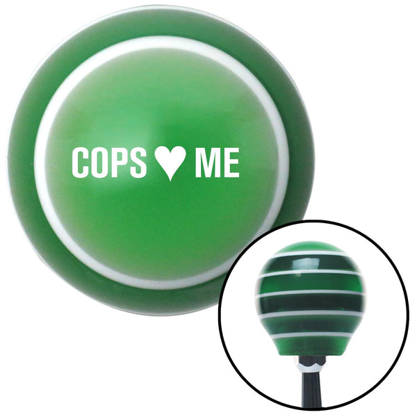 White Cops 3 Me Green Stripe Shift Knob with M16 x 15 Insert - American Shifter - Dropship Direct Wholesale