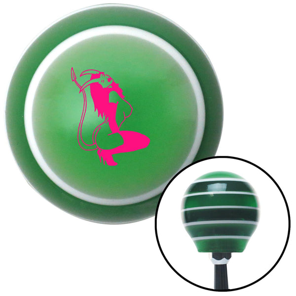 Pink Devil Temptress Green Stripe Shift Knob with M16 x 15 Insert - American Shifter - Dropship Direct Wholesale