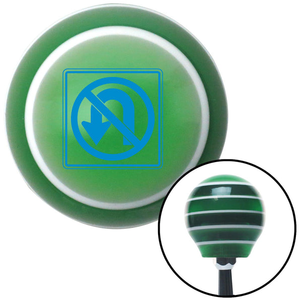 Blue No UTurn Green Stripe Shift Knob with M16 x 15 Insert - American Shifter - Dropship Direct Wholesale