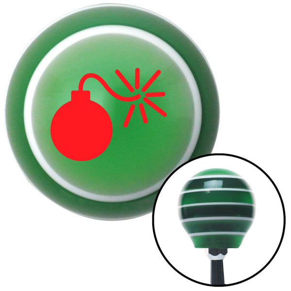 Red Bomb w Fuse Lit Green Stripe Shift Knob with M16 x 15 Insert - American Shifter - Dropship Direct Wholesale