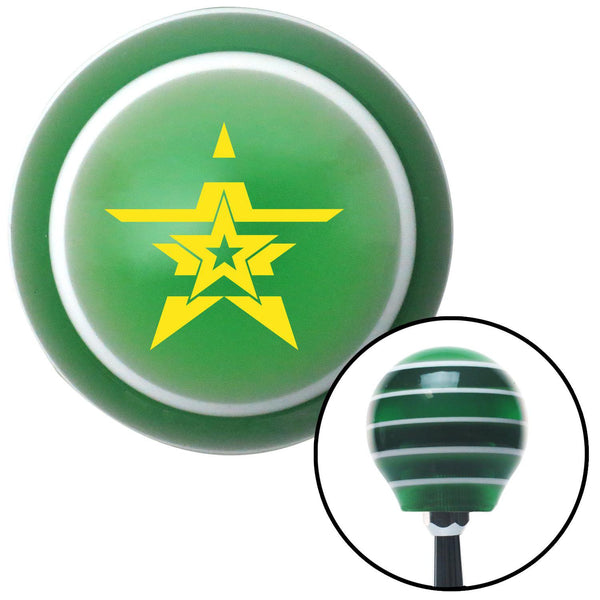 Yellow Stars With Stripes Green Stripe Shift Knob with M16 x 15 Insert - American Shifter - Dropship Direct Wholesale