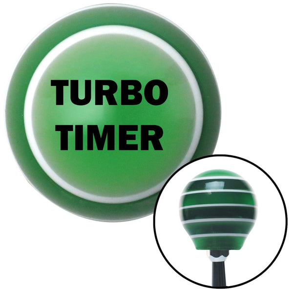 Black TURBO TIMER Green Stripe Shift Knob with M16 x 15 Insert - American Shifter - Dropship Direct Wholesale