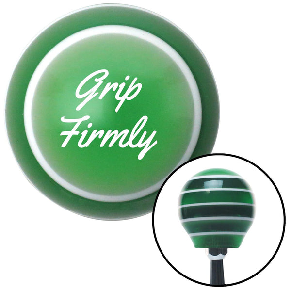 White Grip Firmly Green Stripe Shift Knob with M16 x 15 Insert - American Shifter - Dropship Direct Wholesale