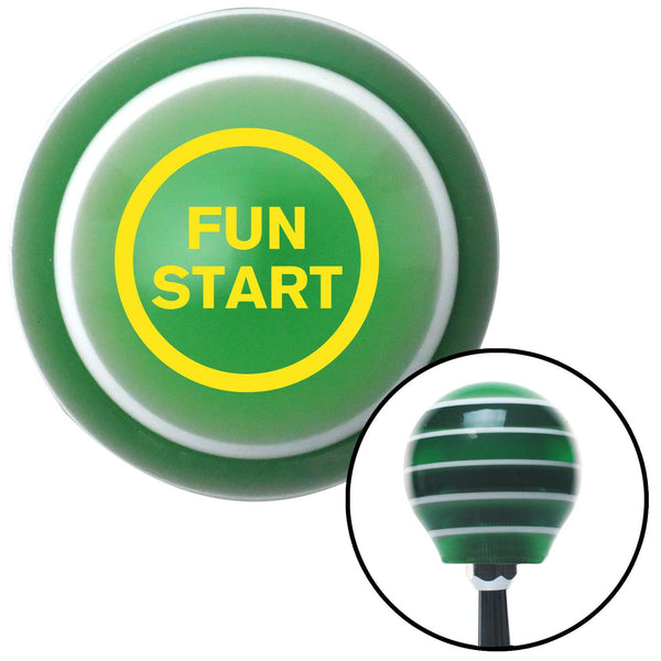 Yellow Fun Start Green Stripe Shift Knob with M16 x 15 Insert - American Shifter - Dropship Direct Wholesale