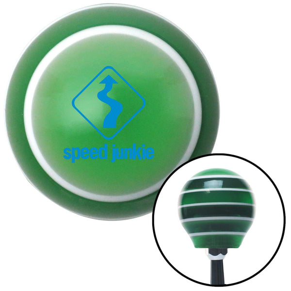 Blue Speed Junkie Green Stripe Shift Knob with M16 x 15 Insert - American Shifter - Dropship Direct Wholesale