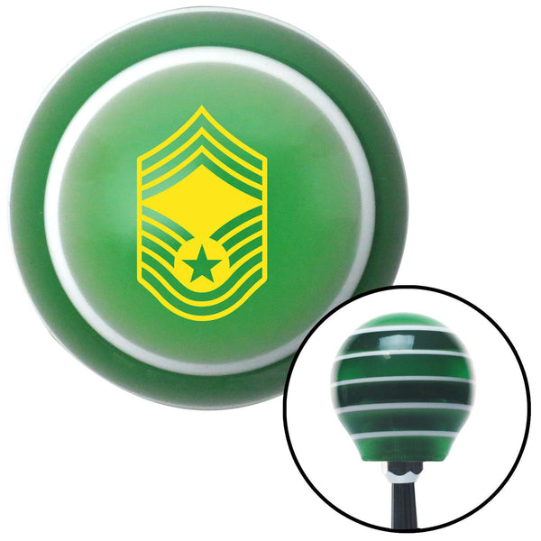 Yellow Chief Master Sergeant Green Stripe Shift Knob with M16 x 15 Insert - American Shifter - Dropship Direct Wholesale