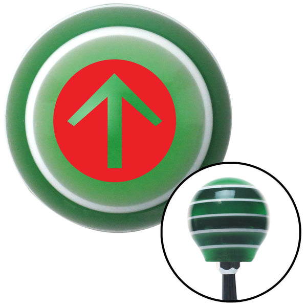 Red Circle Directional Arrow Up Green Stripe Shift Knob with M16 x 15 Insert - American Shifter - Dropship Direct Wholesale