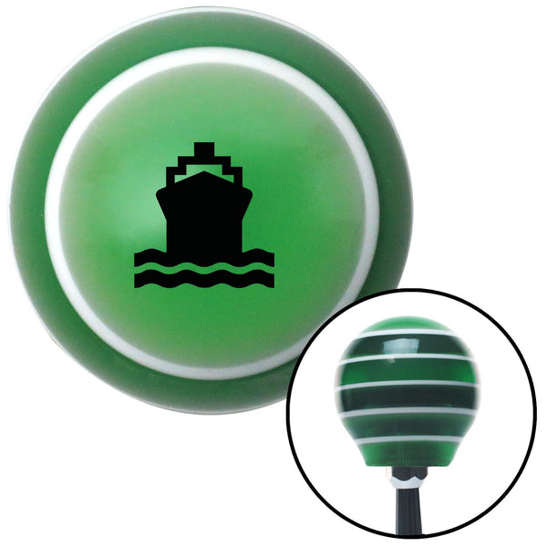 Black Cruise Ship Green Stripe Shift Knob with M16 x 15 Insert - American Shifter - Dropship Direct Wholesale