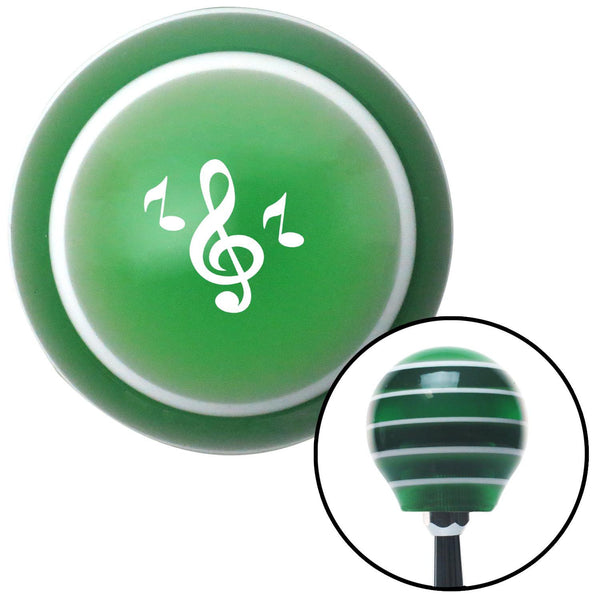 White Treble Clef Green Stripe Shift Knob with M16 x 15 Insert - American Shifter - Dropship Direct Wholesale