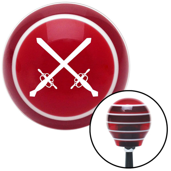 White Swords Red Stripe Shift Knob with M16 x 15 Insert - American Shifter - Dropship Direct Wholesale
