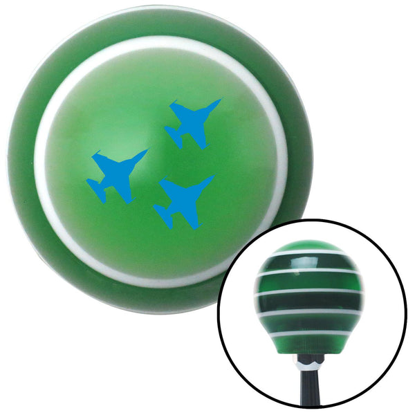 Blue Jet Formation Green Stripe Shift Knob with M16 x 15 Insert - American Shifter - Dropship Direct Wholesale