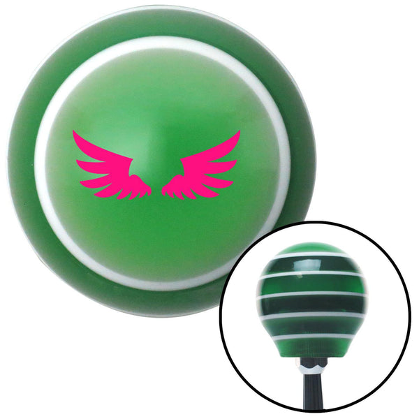 Pink Wing of Royalty Green Stripe Shift Knob with M16 x 15 Insert - American Shifter - Dropship Direct Wholesale