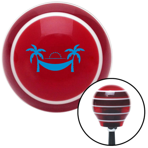 Blue Hammock Scene Red Stripe Shift Knob with M16 x 15 Insert - American Shifter - Dropship Direct Wholesale
