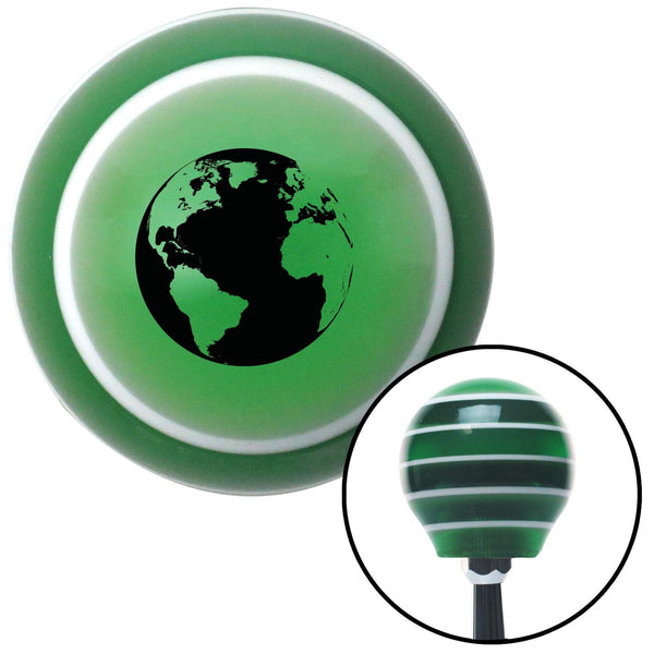 Black World Green Stripe Shift Knob with M16 x 15 Insert - American Shifter - Dropship Direct Wholesale