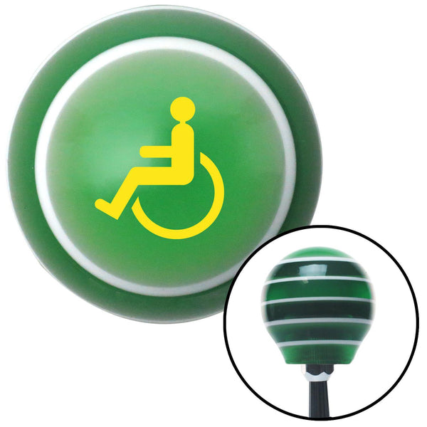 Yellow Wheelchair Green Stripe Shift Knob with M16 x 15 Insert - American Shifter - Dropship Direct Wholesale