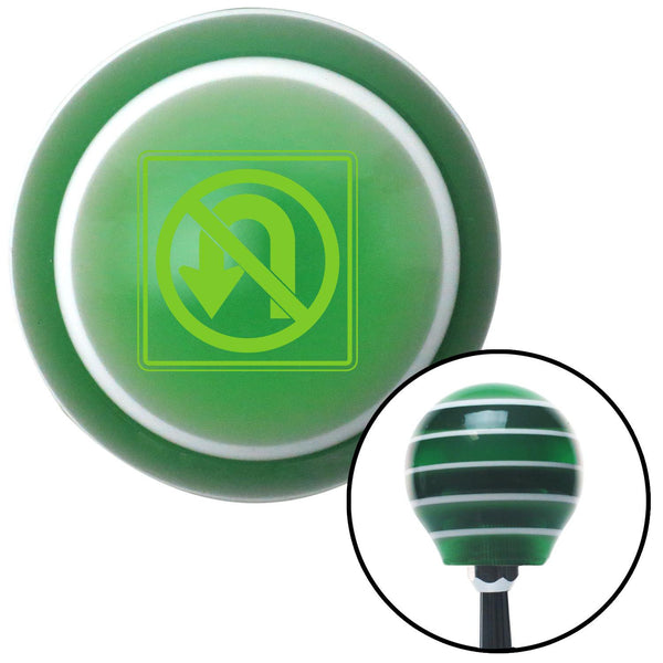 Green No UTurn Green Stripe Shift Knob with M16 x 15 Insert - American Shifter - Dropship Direct Wholesale