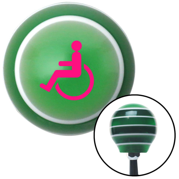 Pink Wheelchair Green Stripe Shift Knob with M16 x 15 Insert - American Shifter - Dropship Direct Wholesale