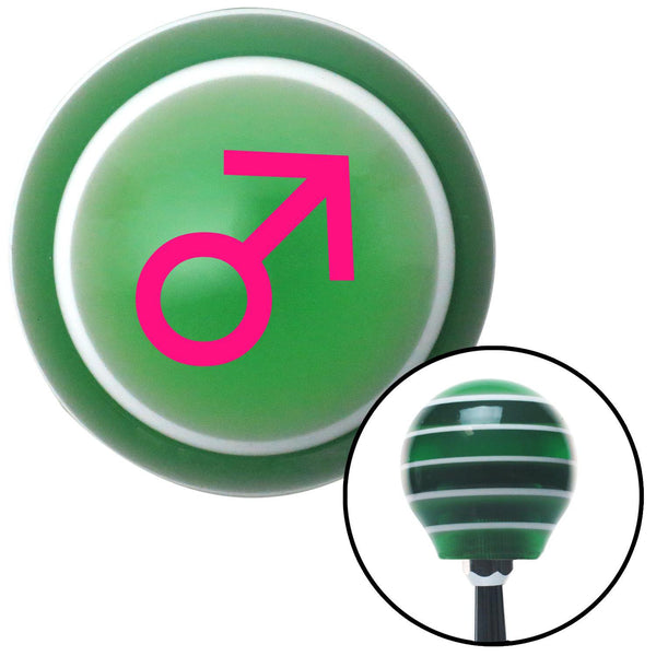 Pink Male Green Stripe Shift Knob with M16 x 15 Insert - American Shifter - Dropship Direct Wholesale