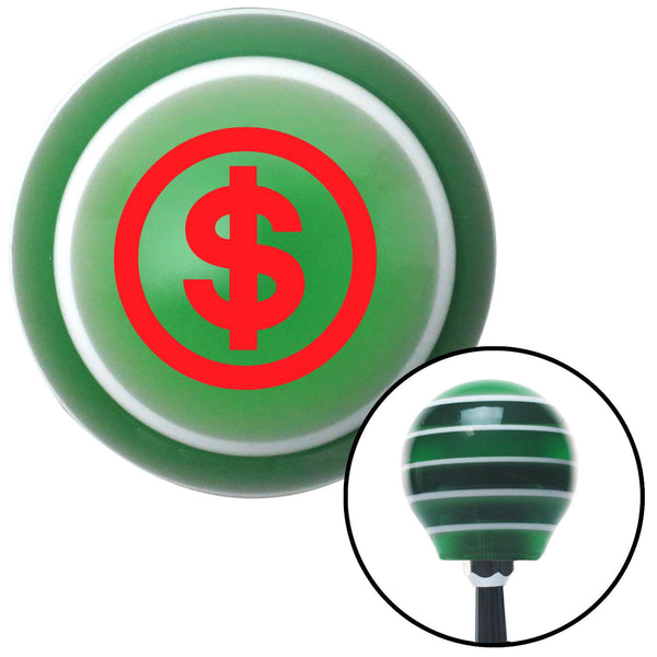 Red Money Green Stripe Shift Knob with M16 x 15 Insert - American Shifter - Dropship Direct Wholesale