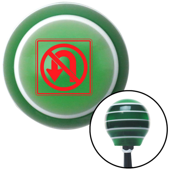 Red No UTurn Green Stripe Shift Knob with M16 x 15 Insert - American Shifter - Dropship Direct Wholesale