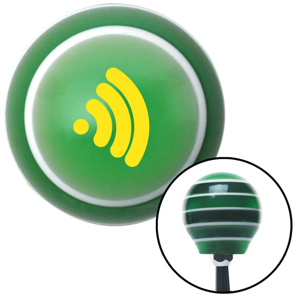 Yellow Wireless Green Stripe Shift Knob with M16 x 15 Insert - American Shifter - Dropship Direct Wholesale