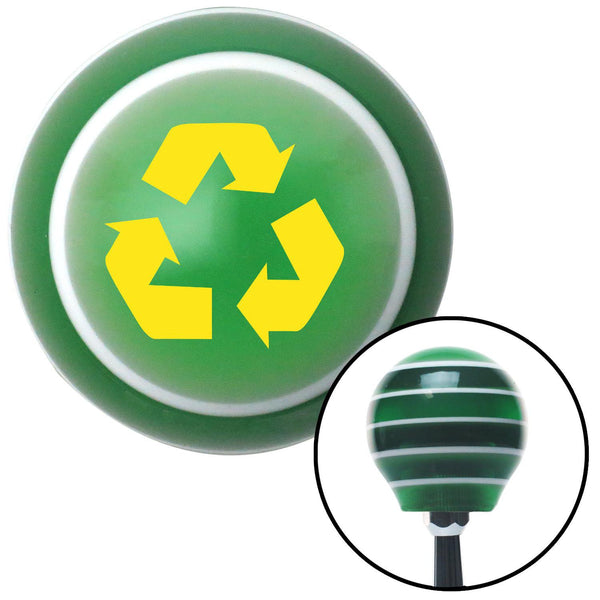 Yellow Recycle Green Stripe Shift Knob with M16 x 15 Insert - American Shifter - Dropship Direct Wholesale