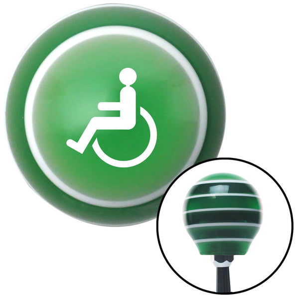 White Wheelchair Green Stripe Shift Knob with M16 x 15 Insert - American Shifter - Dropship Direct Wholesale
