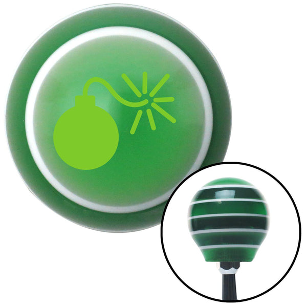 Green Bomb w Fuse Lit Green Stripe Shift Knob with M16 x 15 Insert - American Shifter - Dropship Direct Wholesale